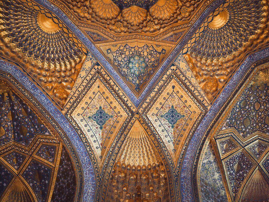 beauutiful ceiling of Ak-Sarai Mausoleum - best things to do in Samarkand