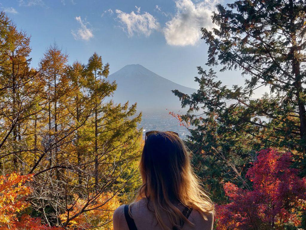 couleurs d'automne avec vue sur le mont Fuji depuis la pagode de Chureito