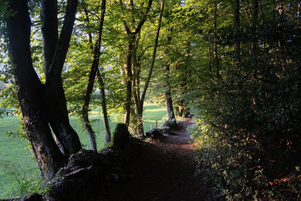 sentier prés du golf de la réserve naturelle du Roc de Chère
