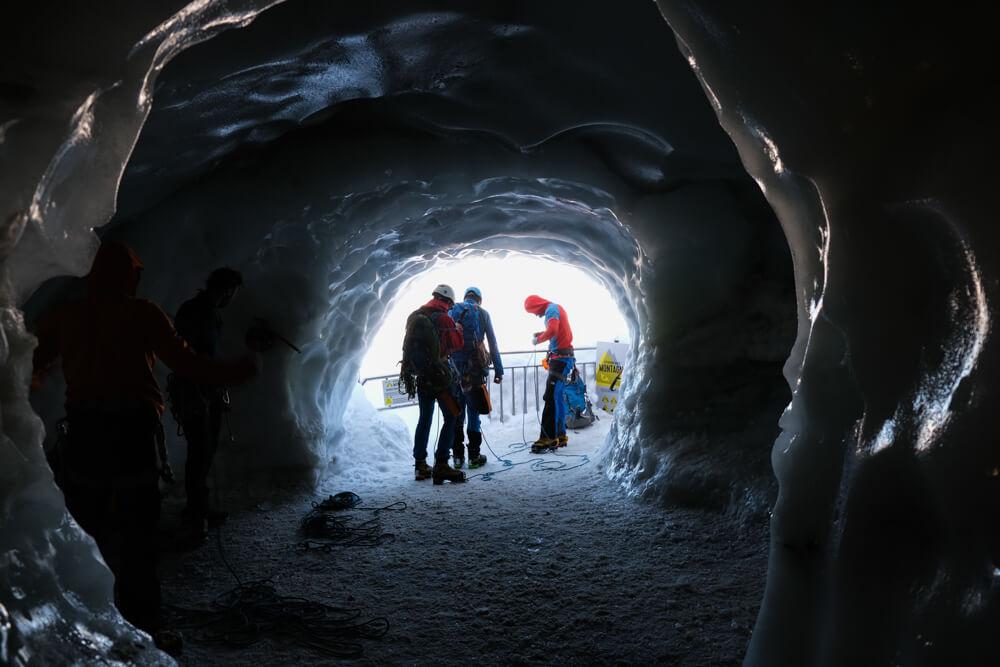 Départ des alpinistes - Aiguille du Midi