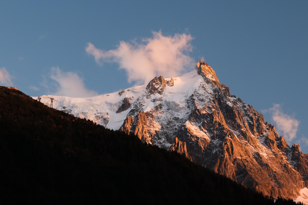 Aiguille du Midi au coucher du soleil