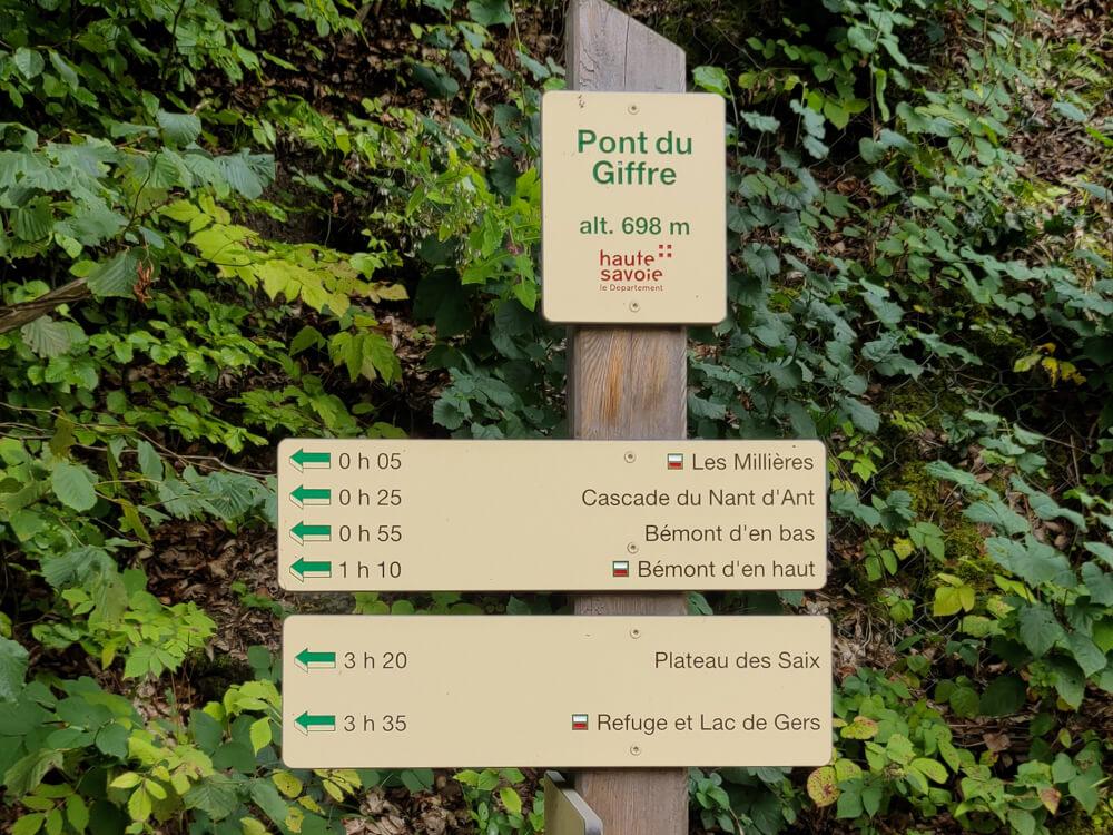 Pont du Giffre - panneau indiquand la cascade du Nant d'Ant